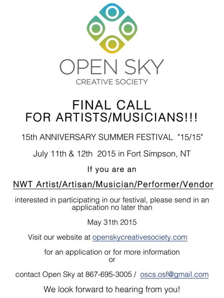 Open Sky Festival Call for Submissions for Artists and Muscians